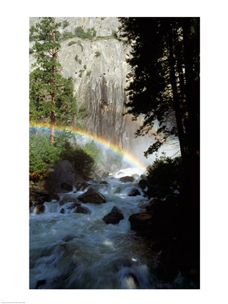 Framed Yosemite National Park, rainbow above stream, USA, California Print