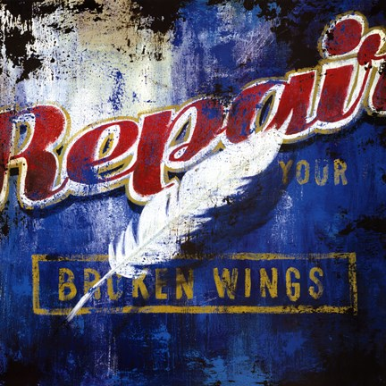 Framed Repair Your Broken Wings Print