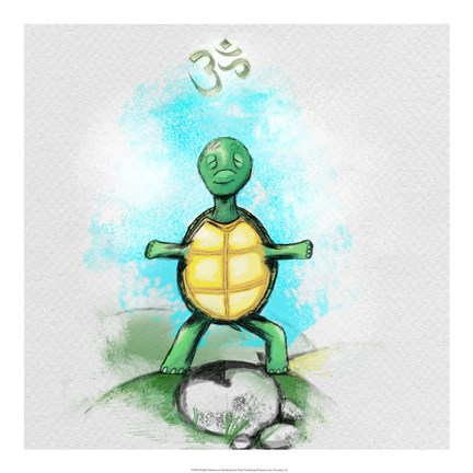 Framed Yoga Turtle I Print