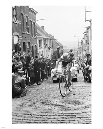 Framed Jaap Kersten in Geraardsbergen Tour de france 1961 Print