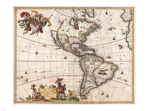 Framed 1658 Visscher Map of North America and South America 1658 Print