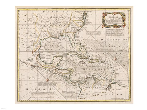 Framed 1720 Map of the West Indies with the Adjacent Coasts of North and South America Print