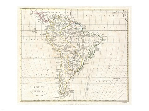 Framed 1796 Mannert Map of North America and South America Print
