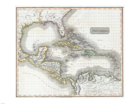 Framed 1807 Cary Map of South America Print