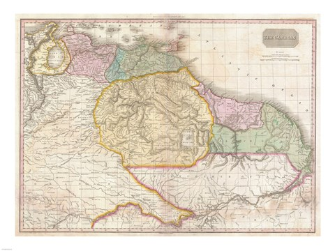 Framed 1814 Thomson Map of the West Indies Central America Print
