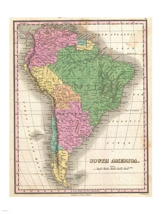 Framed 1827 Finley Map of South America Print
