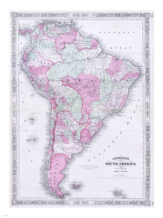Framed 1863 Johnson's Map of South America Print