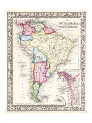 Framed 1864 Mitchell Map of South America Print