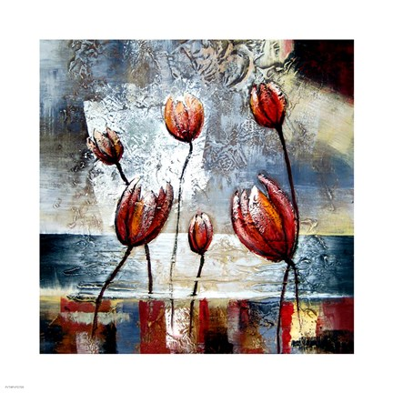 Framed Abstract Flowers Print