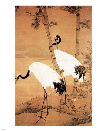 Framed Bian Jingzhao Bamboo and Cranes Print