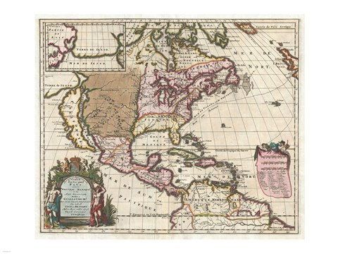 Framed 1698 Louis Hennepin Map of North America Print