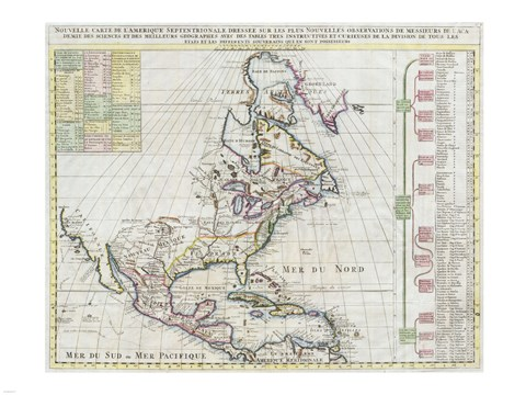Framed 1720 Chatelain Map of North America Print