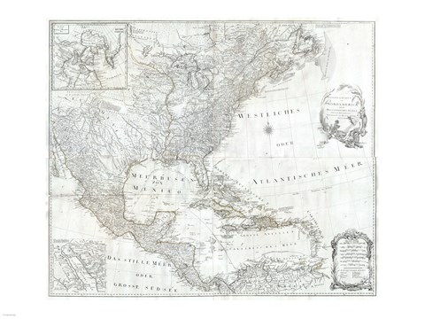 Framed 1788 Schraembl - Pownall Map of North America the West Indies Print