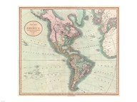 1806 Cary Map of the Western Hemisphere