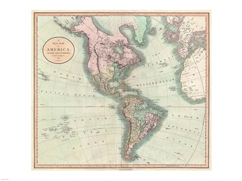 Framed 1806 Cary Map of the Western Hemisphere Print