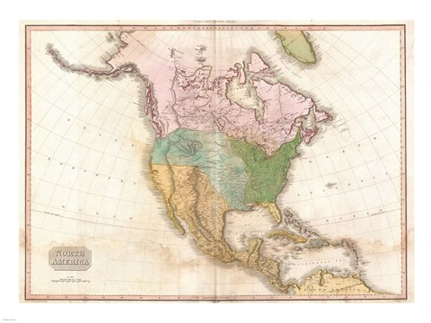 Framed 1818 Pinkerton Map of North America Print