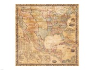 1856 Mitchell Wall Map of the United States and North America