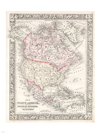 Framed 1864 Mitchell Map of North America Print