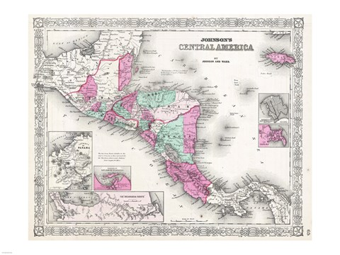 Framed 1866 Johnson Map of Central America Print