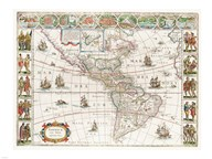 Americae nova Tabula - Map of North and South America