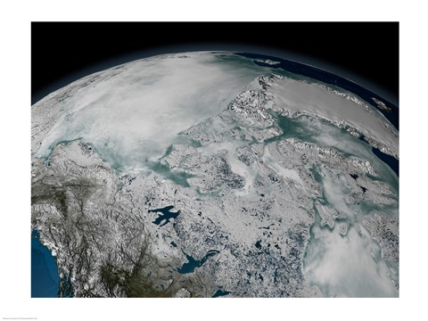 Framed Satellite view of sea ice above North America on April 26, 2006 Print