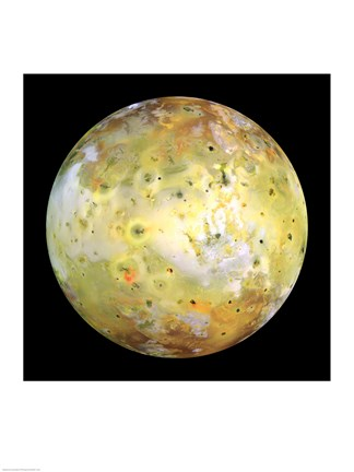 Framed NASA's Galileo spacecraft acquired its highest resolution images of Jupiter's moon Io on 3 July 1999 Print
