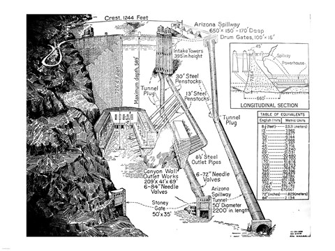 Framed Hoover Dam Diagram Print