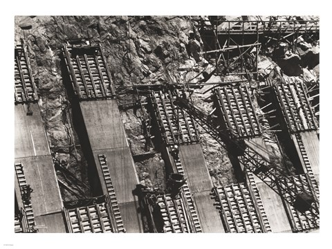 Framed Between Arizona and Nevada. Placing concrete in the sidewall of the Nevada spillway Print