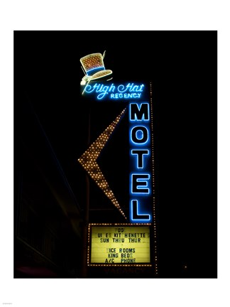 Framed High Hat historic motel, Las Vegas, Nevada Print