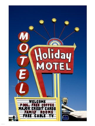 Framed Holiday Motel Sign, Las Vegas, Nevada Print