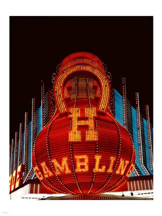 Framed Neon gambling sign on Freemont Street in historic Las Vegas Print