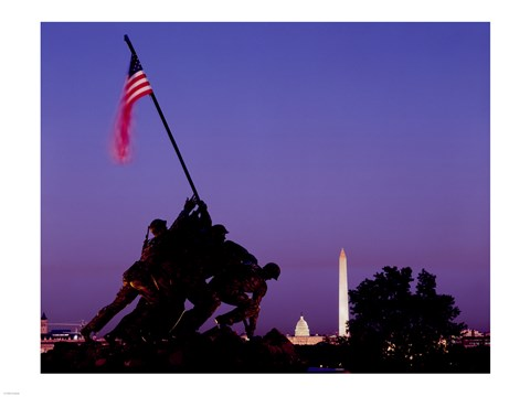 Framed Iwo Jima Memorial at dusk, Washington, D.C. Print