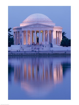 Framed Jefferson Memorial Reflection At Dusk, Washington, D.C., USA Print