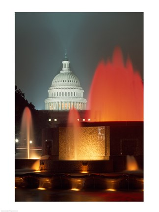 Framed Capitol Building Washington, D.C. (fountains) Print