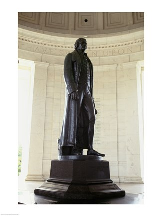 Framed Statue of Thomas Jefferson in a memorial, Jefferson Memorial, Washington DC, USA Print