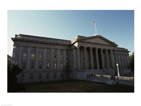 Framed Facade of a financial building, Department of the Treasury, Washington DC, USA Print