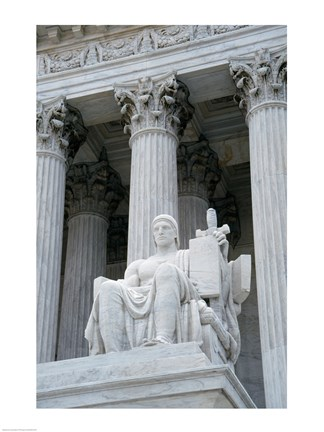 Framed Statue at a government building, US Supreme Court Building, Washington DC, USA Print