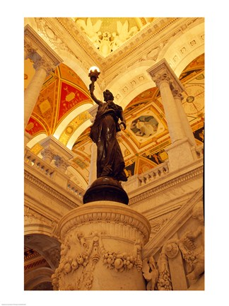 Framed USA, Washington DC, Library of Congress interior with sculpture Print
