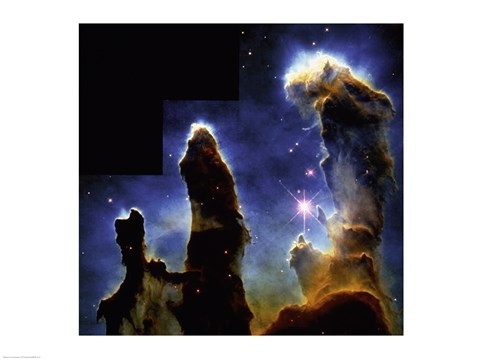 Framed Gaseous pillars of M-16 Eagle Nebula, Star birth photographed by Hubble Space Telescope Print