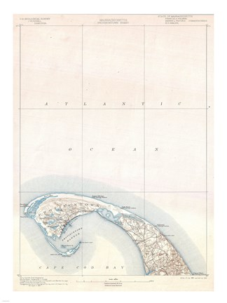 Framed 1900 U.S. Geological Survey Map of Provincetown, Cape Cod, Massachusetts 1900 Print