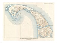 1908 U.S. Geological Survey Map of Provincetown, Cape Cod, Massachusetts1908