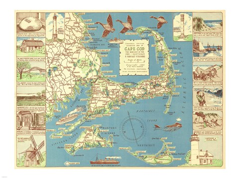 Framed 1940 Colonial Craftsman Decorative Map of Cape Cod, Massachusetts Print