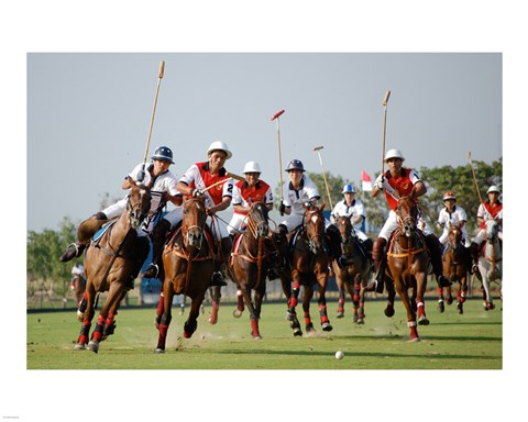 Framed Indonesia plays against Thailand in a round robin SEA Games 2007 Thailand Polo match Print