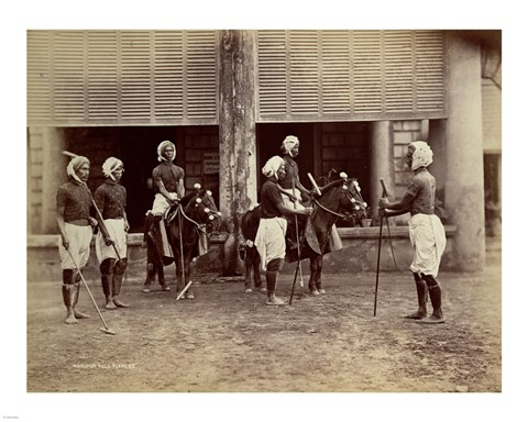 Framed Manipur Polo Players 1875 Print