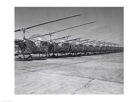 Framed Helicopters in a row, Bell H-13D, Korean War Print
