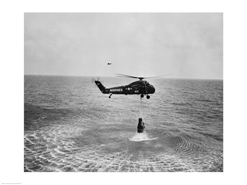 Framed Marine helicopter lifting the astronaut spacecraft out of the Ocean Print