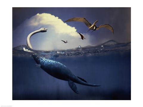 Framed Plesiosaurus and Flying Pteranodons Print
