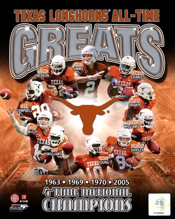 Framed University of Texas Longhornss All Time Greats Composite Print