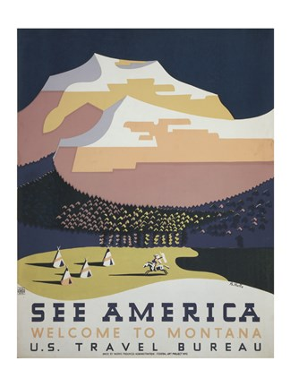 Framed See America Welcome to Montana Print