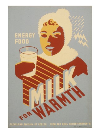 Framed Milk - for warmth Energy food Print